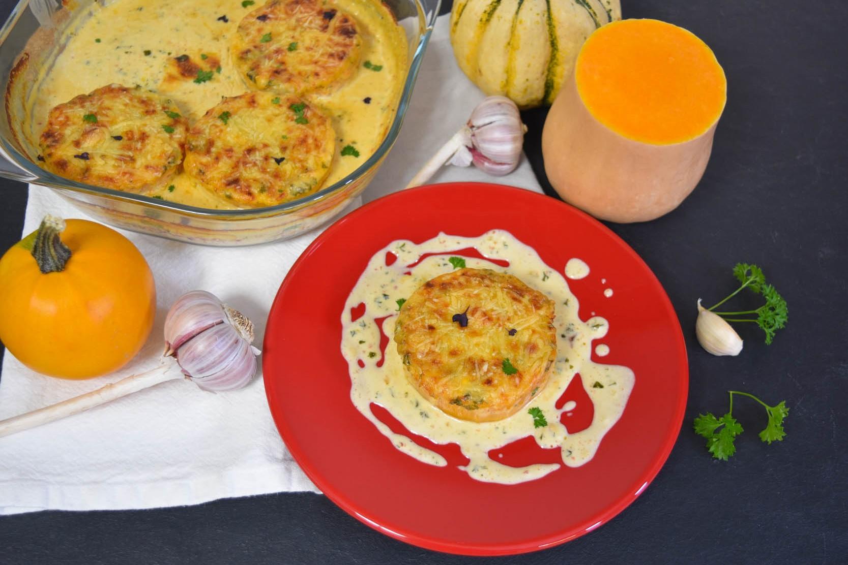 Kürbis Schnitzel mit Käse Sahne Soße