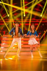 WARNING: Embargoed for publication until 20:30:00 on 12/12/2015 - Programme Name: Strictly Come Dancing 2015 - TX: 12/12/2015 - Episode: n/a (No. n/a) - Picture Shows: **DRESS REHEARSAL** EMBARGOED FOR PUBLICATION UNTIL 20:30 HRS ON SATURDAY 12TH DECEMBER 2015 Gleb Savchenko, Anita Rani - (C) BBC - Photographer: Guy Levy