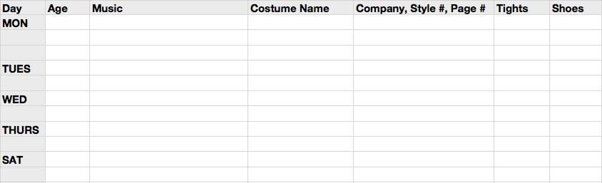 Spreadsheet for Recital