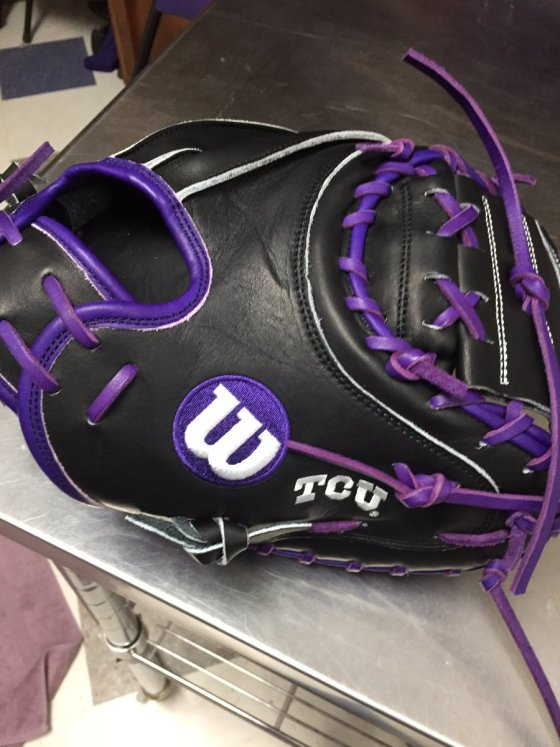 TCU's Wilson Gloves: Black and Purple Catchers Mitt