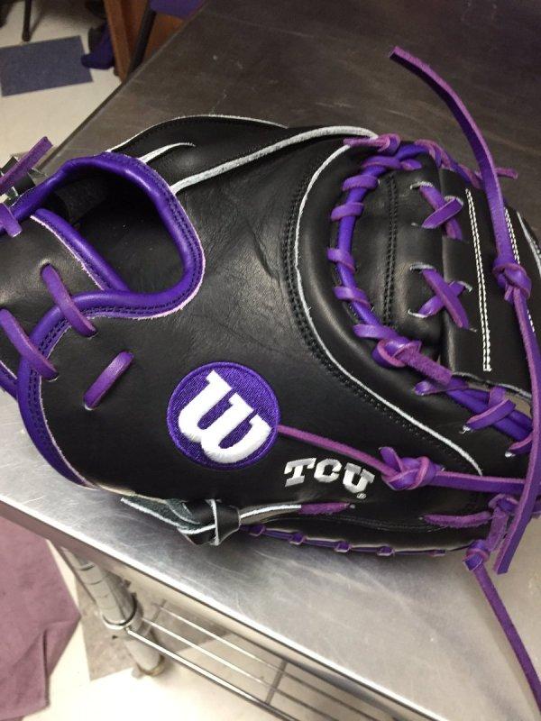 TCU's Wilson Gloves: Black and Purple Catchers Mitt