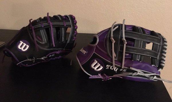 TCU's Wilson Gloves: Black and Purple 1799 amd 1613