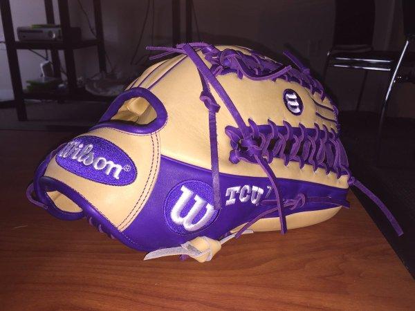 TCU's Wilson Gloves: Blonde and Purple OT6