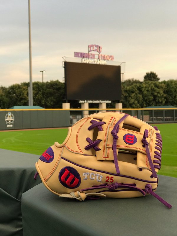 TCU's Wilson Gloves: Blonde and Purple 1787