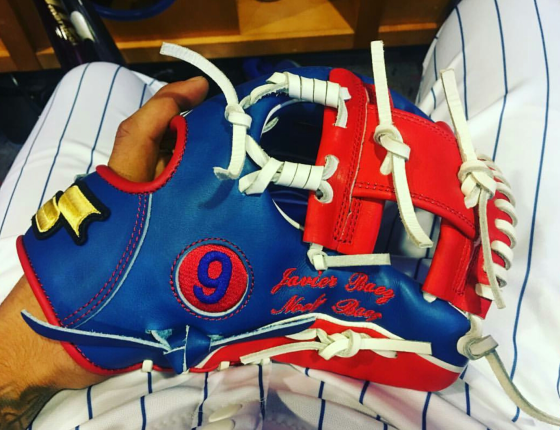 Javier Baez' Glove: SSK in Blue, Red, and White