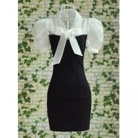 Vintage Bow Tie Collar Short Sleeves Color Splicing Dress ...