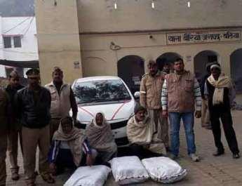 बैरिया पुलिस व स्वाट टीम ने तीन गांजा तस्करों संग तीन लाख का गांजा पकड़ा