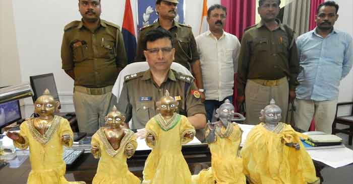 श्रीराम जानकी मंदिर से चोरी गई अष्टधातु की मूर्तिया बरामद