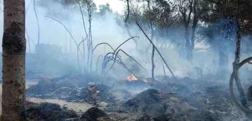चूल्हे से निकली चिंगारी से तीन रिहायशी झोपड़ियां जलीं, हजारों की क्षति, पीड़ित खुले आसमान के नीचे
