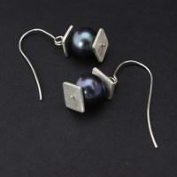 Silver Lantern Earrings with Black Pearl  Balliet