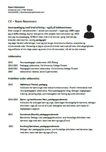 cv exemple job det
