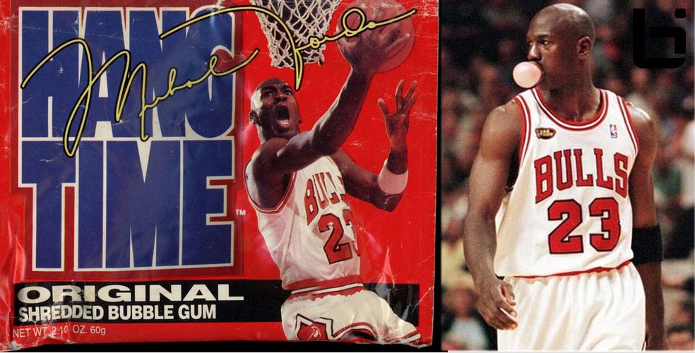 MJ of the Day Chewing gum blowing bubbles  HangTime Gum