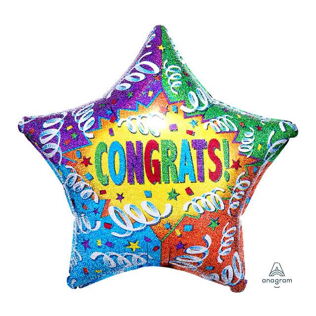 Helium Ballon Congrats 71 CM, verjaardag, gefeliciteerd