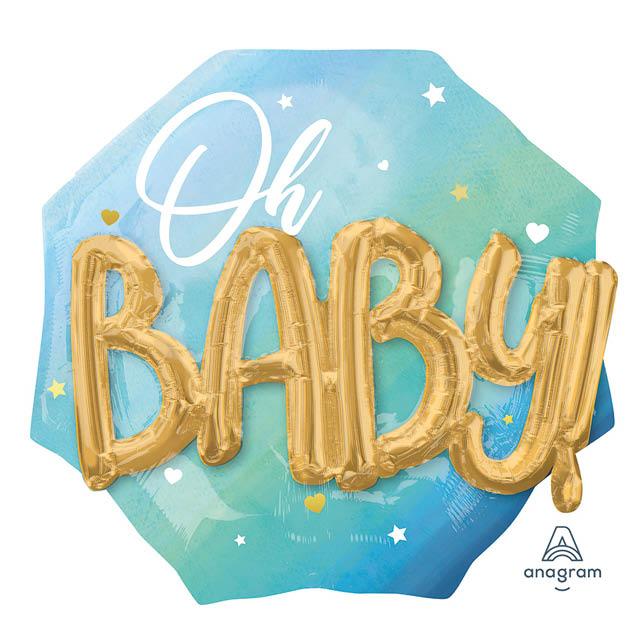 Helium Ballon Oh Baby Blauw 3D, Geboorte, Jongen
