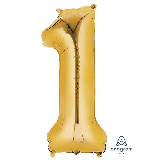 Helium Ballon Cijfer Goud 90 CM 1