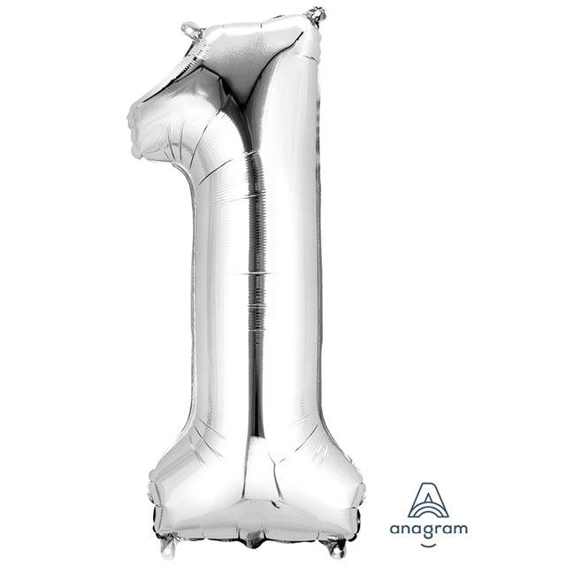 Helium Ballon Cijfer Zilver 90 CM 1