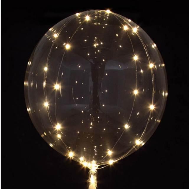 Helium Ballon bol Transparant met witte LED lampjes, ballon versturen, ballon bezorgen, ballon per post, greetz