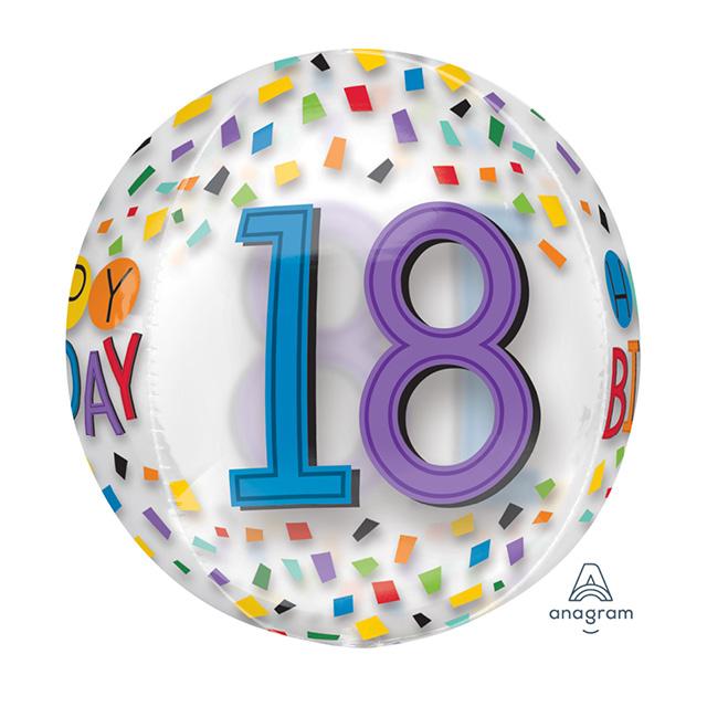 Helium Ballon 18e Verjaardag Bol, ballon versturen, verjaardag ballon, 18e verjaardag, ballon per post. goedkope ballon, helium ballon