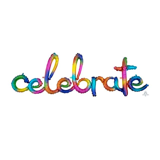 Ballon Letters Celebrate Regenboog , ballon versturen, ballon per post. grote ballon, greetz ballon, duurzame ballon