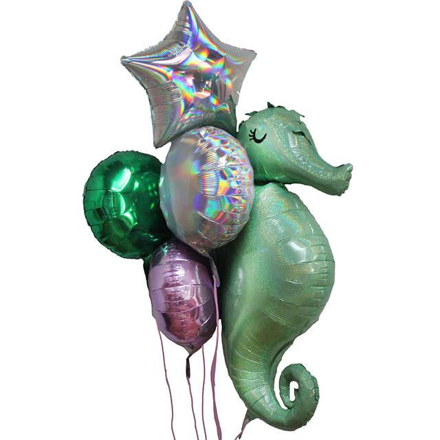 Helium Ballon Boeket Zeepaard , ballon versturen, ballon per post, zeepaard ballon, kinder ballon, tros ballonnen, greetz, hallmark