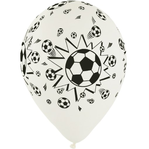 Weißer Latexballon mit Fussballmotiven 28cm