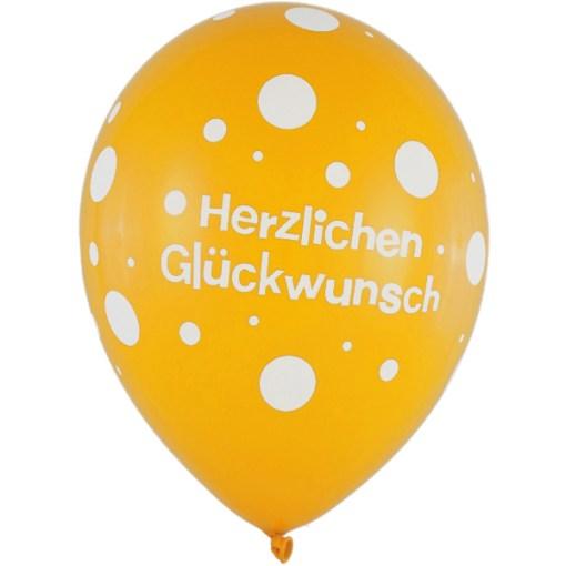 Latexballon 28cm Herzlichen Glueckwunsch gelb 1