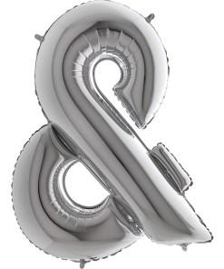 Buchstabe &, SILBER, Folienballon H102cm