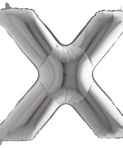 Buchstabe X, SILBER, Folienballon H102cm