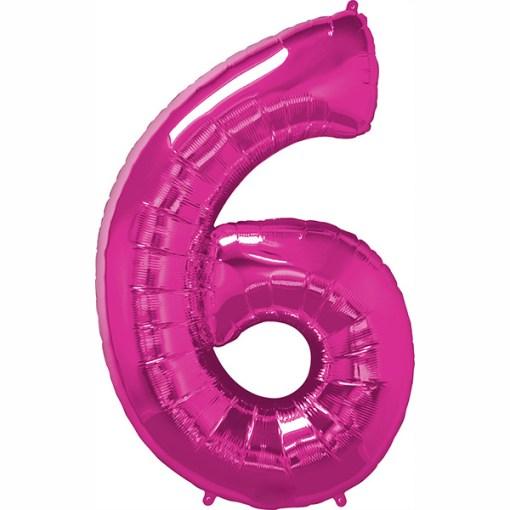 Folie Zahl 6 pink