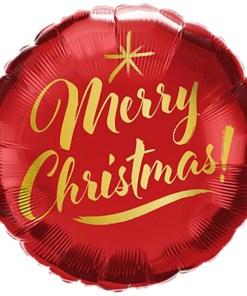 Merry Christmas roter Folienballon.