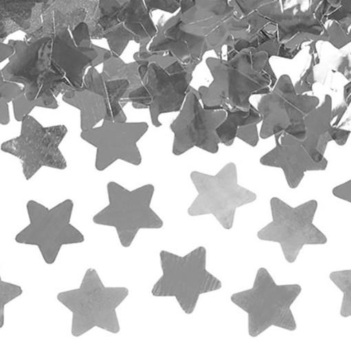 Konfettishooter Folienkonfetti silber Sterne 60cm 2