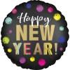 Happy New Year Ballon schwarz mit Punkten