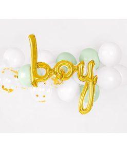 Folienballon Schriftzug Boy, gold, 63.5x74cm Dekobeispiel