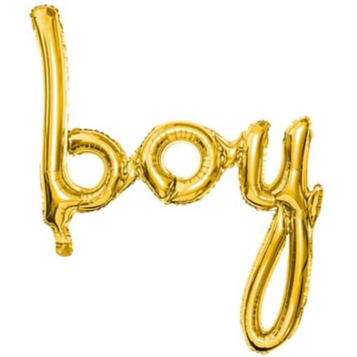 Folienballon Schriftzug Boy, gold, 63.5x74cm