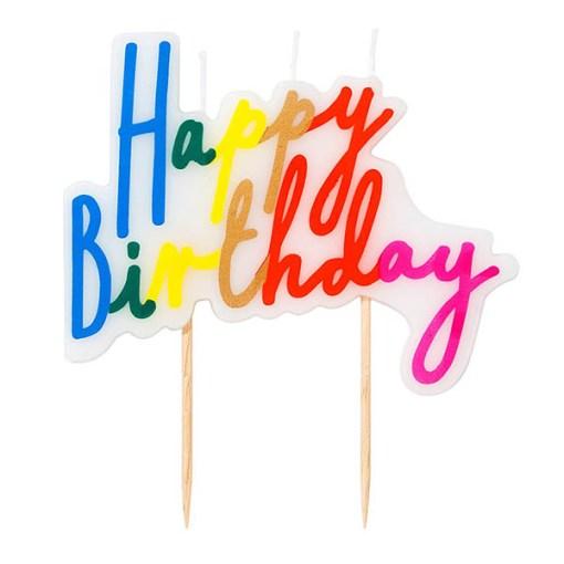 Geburtstagskerze Happy Birthday Schriftzug bunt