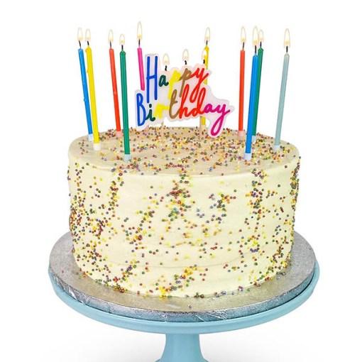 Geburtstagskerze Happy Birthday Schriftzug bunt Regenbogenfarben Beispielbild