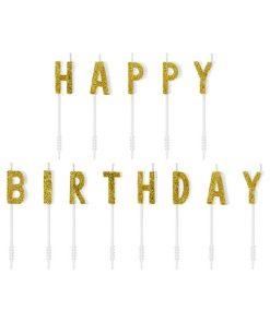 Geburtstagskerzen, Happy Birthday Schriftzug gold, 2,5cm, 13 Stück