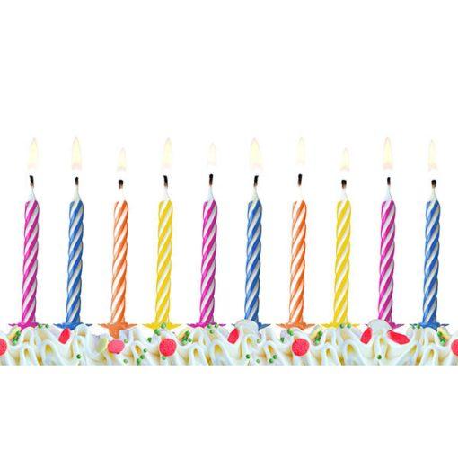 Geburtstagskerzen, bunter Mix mit Streifen, 6 cm, 10 Stück brennend