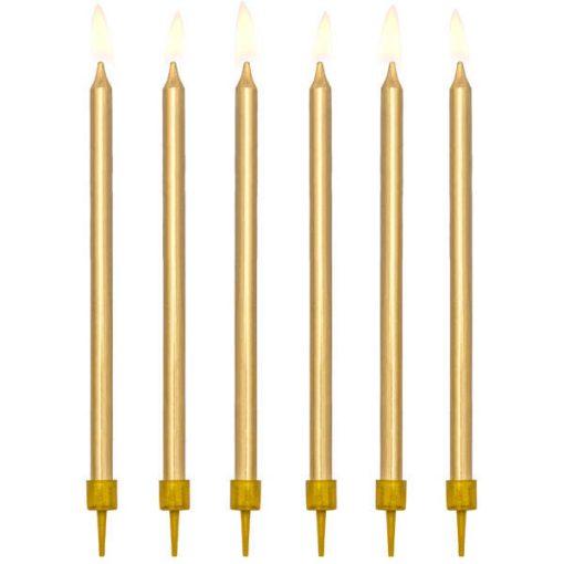 Geburtstagskerzen, einfarbig,gold, 12,5cm, 12 Stück 01