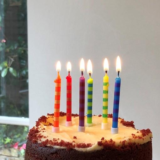 Geburtstagskerzen bunt Beispielbild auf Kuchen