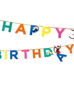 Buchstabengirlande HAPPY BIRTHDAY/Affen/Tukane, Pappe bunt, L 3,5 m