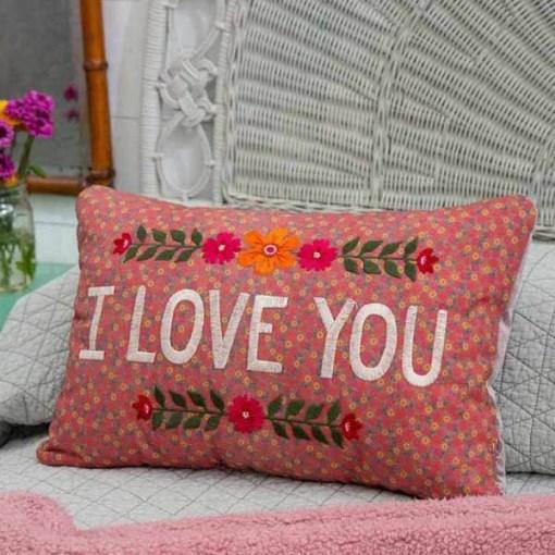 Kissen Flowery I Love You, Baumwolle, 45,7 x 31,8 x 11,4 cm