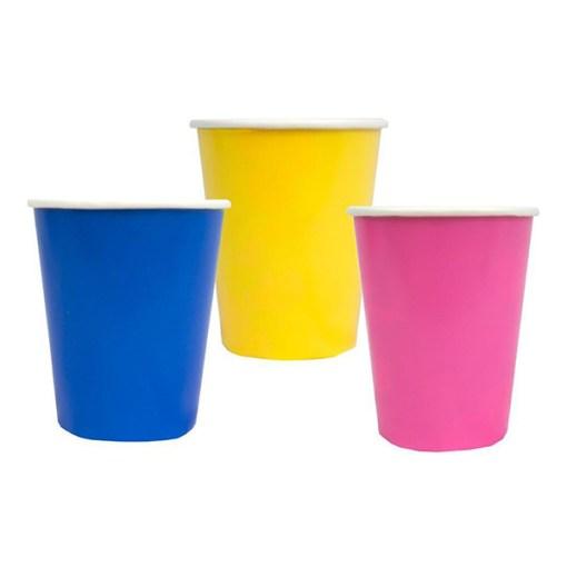 Pappbecher 250ml bunter Mix alle Farben