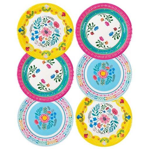 Pappteller Motiv Boho Floral D23cm 6 Stück