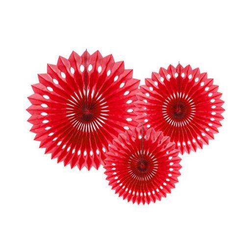 Dekofächer mit Lochmuster, red, 3er Pack, versch. Größen
