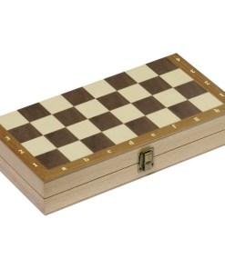 Schachspiel in Holzklappkassette 29,9 x 29,9 x 4,8 cm,Feldgröße3,3 x 3,3 cm,Holz,32 Figuren