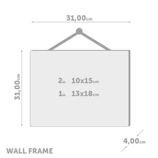 BILDERRAHMEN NEBRASKA 4 KLAMMER TEAKHOLZ Plastik 304x304x33cm Bemassung