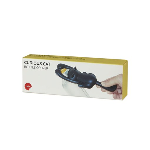 FLASCHENÖFFNER CURIOUS CAT SCHWARZ, ABS PLASTIK,METALL 2,6x16,8x5,5cm Verpackung