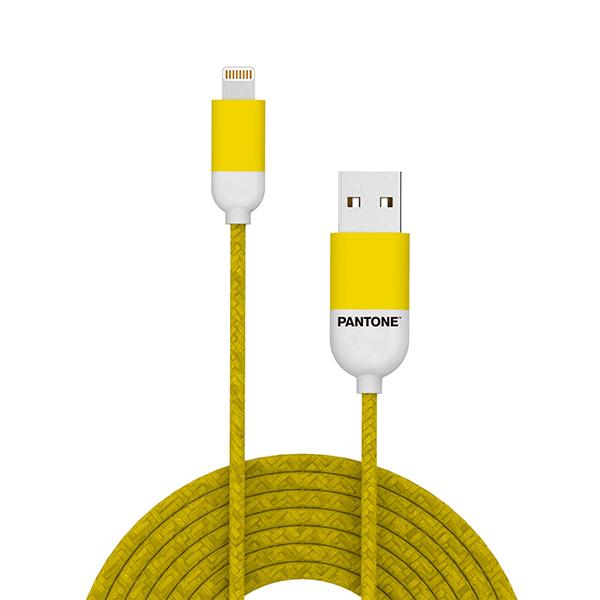 KABEL LIGHTNING USB 1M PANTONE GELB APPLE MFI, Nylon, 107,5cm