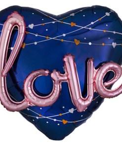 Navy Herz mit Schriftzug Folienballon Herz 68cm